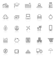 Loan line icons with reflect on white background vector