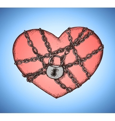 Locked heart with chains emblem vector