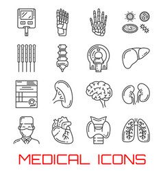 medical icons with human organs and doctor vector image