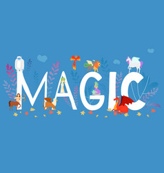 mythical mythological creates magic animals vector image