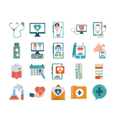 Online doctor health medicine care flat style vector