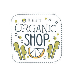 organic shop logo template design label for vector image