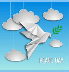 peace dove with olive branch flying on blue vector image
