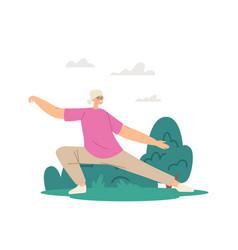Pensioner morning workout at city park elderly vector