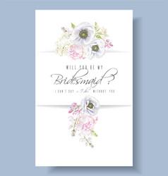Peony anemone bridesmaid vector