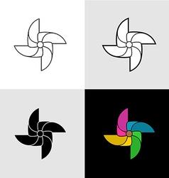pinwheel silhouette logo set flat color vector image