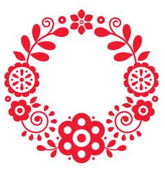 Polish floral folk art mandala pattern vector