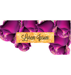 pruple roses golden glitter card shiny vector image