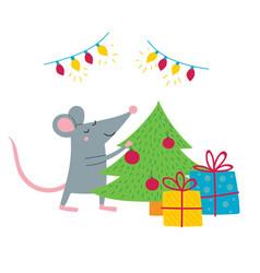 rat preparing for christmas vector image
