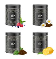 Realistic blak tea tins set vector