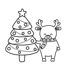 reindeer with tree balls decoration merry vector image