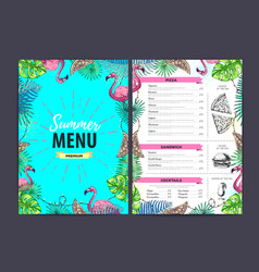 Restaurant summer menu design with tropic leaves vector