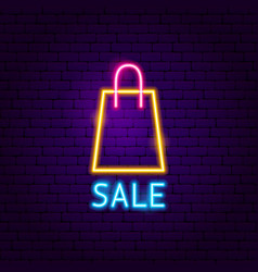 sale shopping neon label vector image