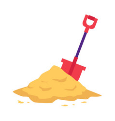 Sand heap with red shovel in flat style isolated vector