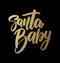 santa balettering phrase on dark background vector image