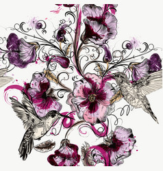 seamless background with flowers and hummingbirds vector image