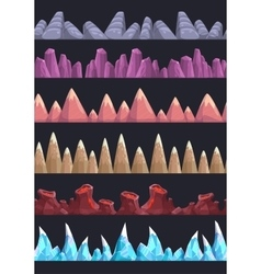 Seamless cartoon rocks and mountains vector image