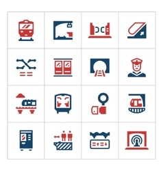set color icons subway vector image