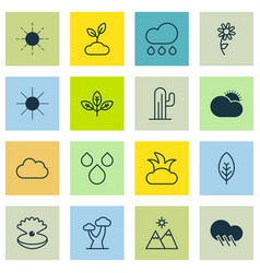 Set of 16 ecology icons includes oak landscape vector