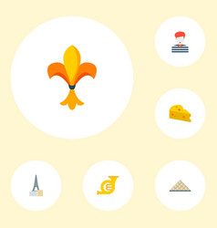 Set of europe icons flat style symbols with louvre vector