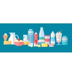 Set of Milk Products Icons in Flat Design vector image