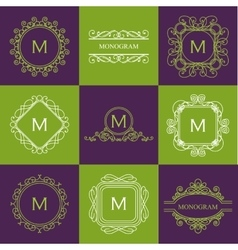 set outline monograms and logo design templates vector image
