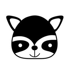Silhouette happy raccoon head wild animal vector