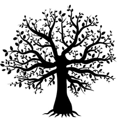 silhouette of a tree decor with leaves vector image
