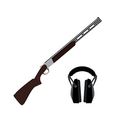 Skeet rifle and headphones for shooting vector image