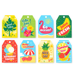 summer tags summertime labels with watermelon vector image