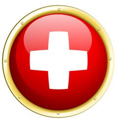 Swiss flag on round badge vector