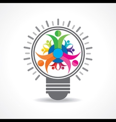 Teamwork Concept with bulb stock vector image