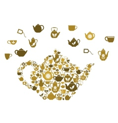 Teapots and cups of tea vector image