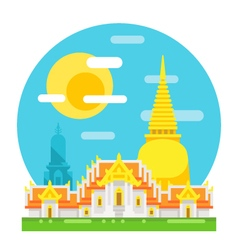 Thailand temple flat design landmark vector image
