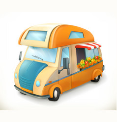 Travel trailer camping 3d icon vector