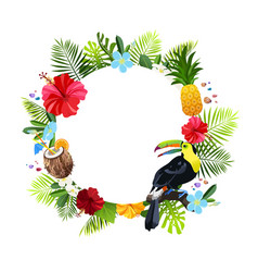 tropical flowers composition vector image