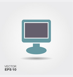 tv monitor icon in flat style isolated on grey vector image