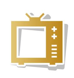 tv sign golden gradient icon vector image