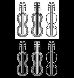 violin black and white stroke vector image