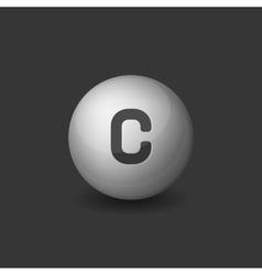 Vitamin C Silver Glossy Sphere Icon on Dark vector