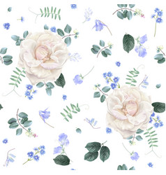 White rose and blue flower floral pattern vector