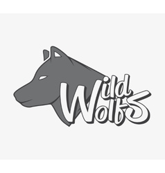 Wild wolf with grey wolf silhouette vector image