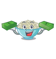 with money bag rice bowl mascot cartoon vector image