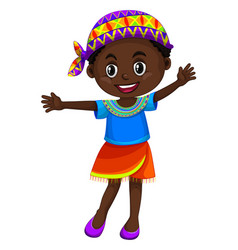 Zimbabwe girl waving hand vector