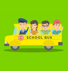 caucasian pupils riding a yellow school bus vector image
