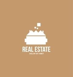 Flat real estate brown house villa logo vector image vector image