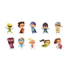 Kids Supeheroes Retro Set vector image vector image