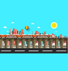 modern train in city flat design town vector image