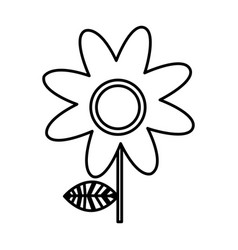 monochrome silhouette of daisy flower vector image