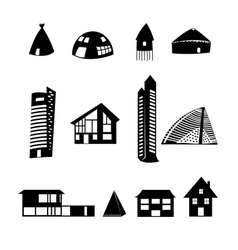 set of different buildings vector image vector image